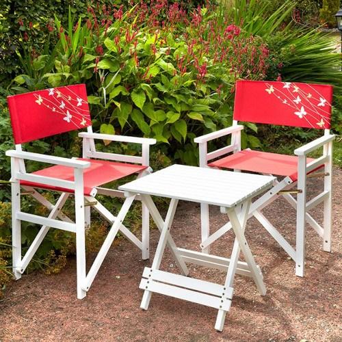 hardwood directors table chair set red butterfly bridgend garden