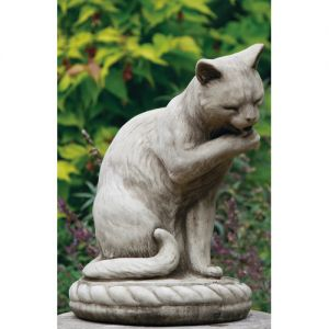 Dragonstone Licking Cat Stone Garden Ornament
