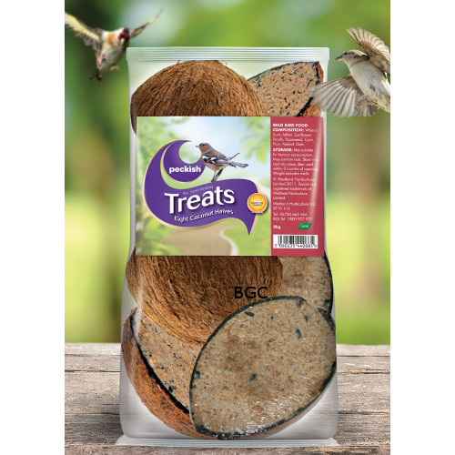 Peckish 8 coconut halves for wild birds bridgend garden for Whole coconut bird feeders