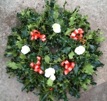 White Christmas Rose Red Ribbon Christmas Wreath Bridgend Garden