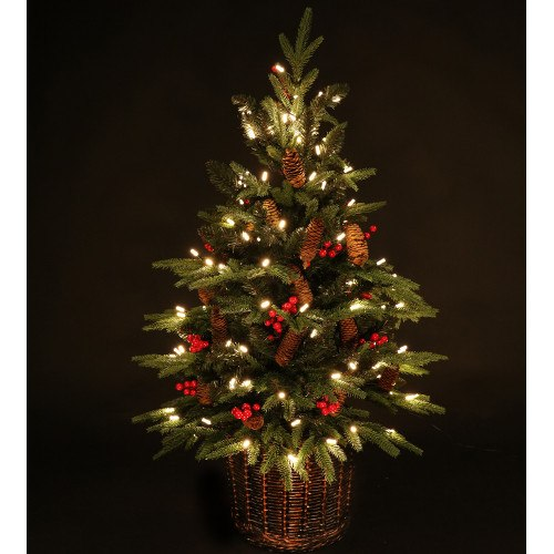 Potted Christmas Tree.3ft Knightsbridge Pre Lit Potted Spruce Artificial Christmas Tree